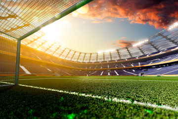 Stadium Soccer in day light 3d render