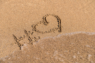 Hashtag Love Heart Sign On Beach Sand