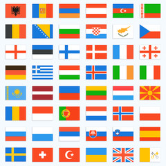 Flags of Europe, complete set. Vector icons