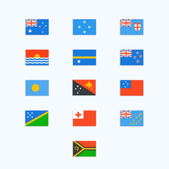 Oceanian Country Flags. Vector icons set