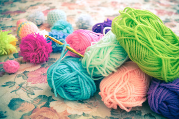 Yarn ball and crochet needle