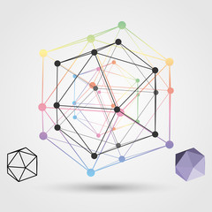 Colorful frame of the polygon on a light background. Abstract concept on the subject of science.