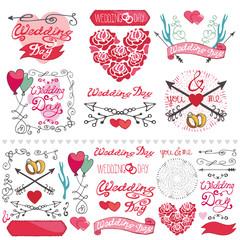 Wedding decor elements set.Labels,card,invitation
