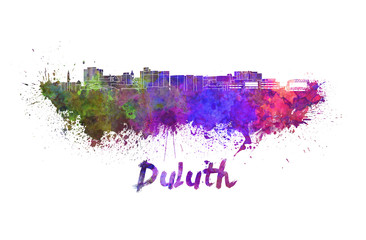 Duluth skyline in watercolor