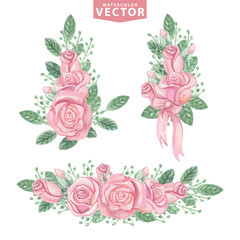 Watercolor pink roses compositions.Cute vintage flowers