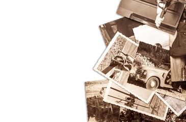 vecchie fotografie su fondo bianco