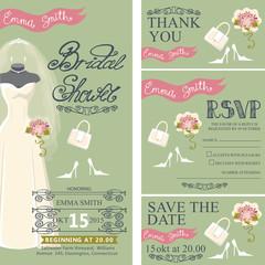 Bridal shower invitation set.Bridal dress,bouquet,accessories