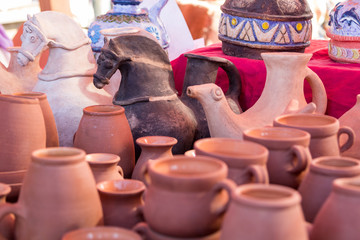 Ancient Roman clay figurines and utensils