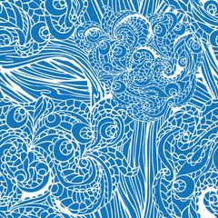 Abstract  swirl ethnic seamless pattern.Outline