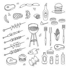 hand drawn barbecue related item set