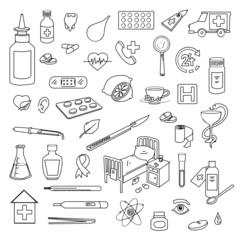 Set of hand-drawn medical doodles