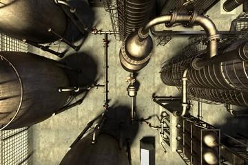 3d render of oil refinery
