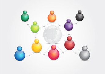social media connection between people world wide with colors balls on white background