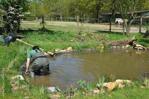 Nettoyage annuel d\'un bassin de jardin\
