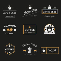 Retro coffee logotypes set. Vector design elements