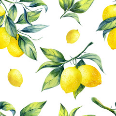 A seamless lemon pattern on white background.