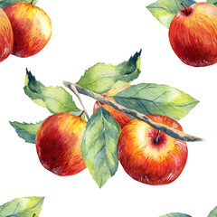 A seamless apple branch pattern on white background.