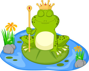 Prince frog cartoon sitting on a leaf