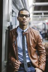 Portrait of businessman on the subway train