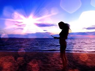 girl under sunlight,silhouette