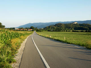 countryside road to Vintgar gorge, Slovenia