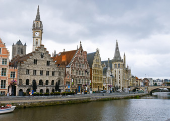 The riverside of Lys is one of the most scenic places in Ghent's old city centre. Belgium