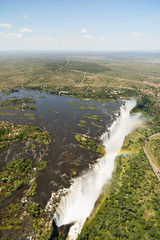 Border of Zimbabwe and Zambia, aerial view of Victoria Falls