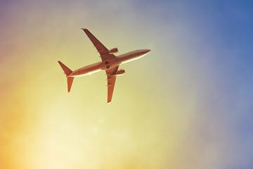 Foto op Canvas Vliegtuig plane sunset