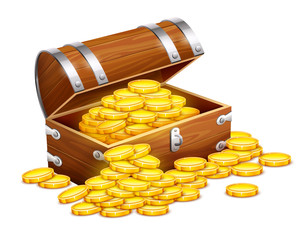 Pirates trunk chest full of gold coins treasures. Eps10 vector