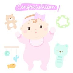 congratulation new adorable baby girl vector.