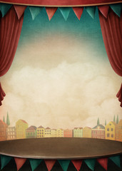 Bright background with various circus objects for illustrations and posters