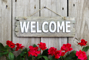 Welcome sign with red rose border