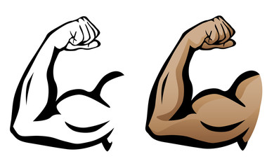 Muscular Arm Flexing Bicep Vector Illustration