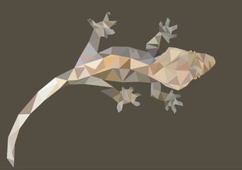 Abstract Low Poly Gecko, Crested gecko (Correlophus ciliatus) - Vector Illustration