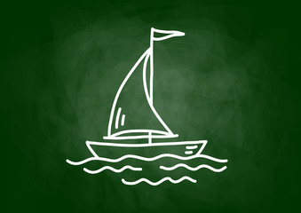 Drawing of sailboat on blackboard