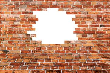 Strukturierte Backsteinmauer - Mauerdurchbruch