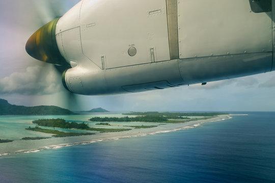 arrivée en avion sur Bora Bora