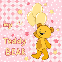 Teddy bear on the colorfull background.