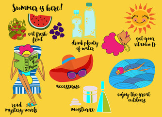 Summer Tips - Illustrated cartoon-style summer tips, recommending eating fresh fruit, drinking plenty of water, swimming, moisturizing, sunbathing and reading mystery novels, hand drawn vector