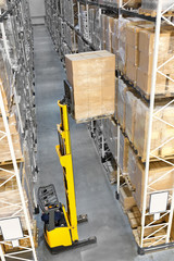 Wall Mural - Forklift in a distribution warehouse