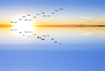 amanecer en el mar calmado