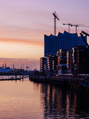 Germany, Hamburg, view from the Marco Polo Terraces to the Elbe Philharmonic Hall at dusk