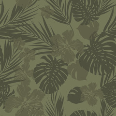 Tropical seamless monochrome khaki camouflage background with