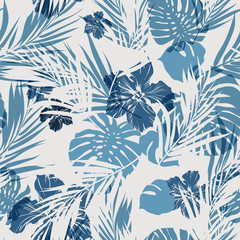 Tropical seamless monochrome blue indigo camouflage background