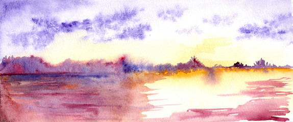 Purple sunset sunrise river landscape