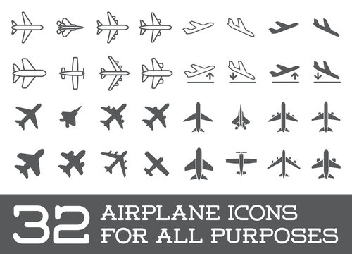 Aircraft or Airplane Icons Set Collection Vector Silhouette