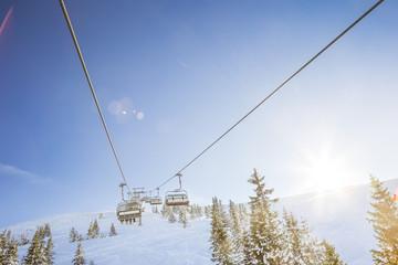 Austria, Salzburg State, Region Hochkoenig in winter, Ski Amade, ski lift