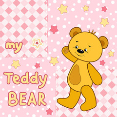 Teddy bear on the colorful background.