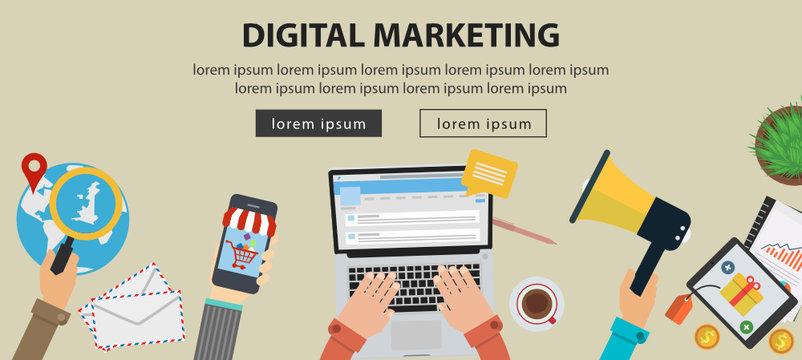 Digital marketing flat illustration