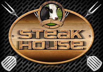 Steak House - Sign with Kitchen Utensils